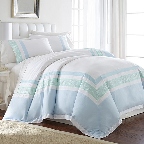 Pacific Coast Textiles 3Pc 100% Cotton Embroidered Comforter Cover Set