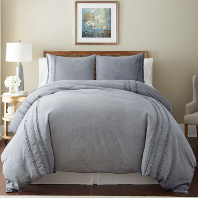 Pacific Coast Textiles 3Pc Washed Linen Comforter Cover With Lace
