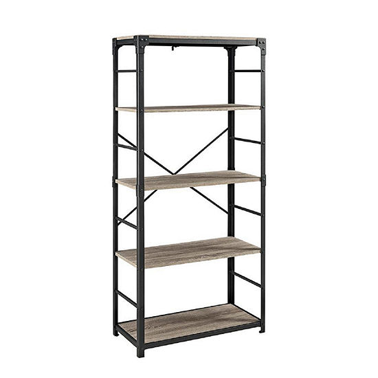 "64"" Angle Iron 4-Shelf Bookshelf"