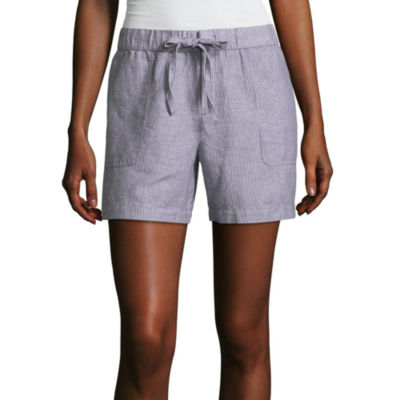 "Liz Claiborne 5"" Linen Pull-On Shorts"