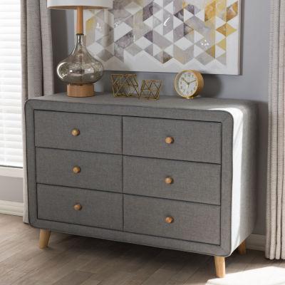 Baxton Studio Jonesy Mid-Century Beige Linen Upholstered 6-Drawer Dresser