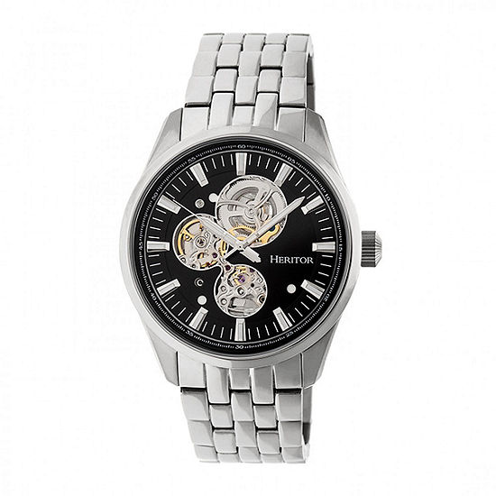 Heritor Unisex Adult Automatic Silver Tone Stainless Steel Bracelet Watch-Herhr6502