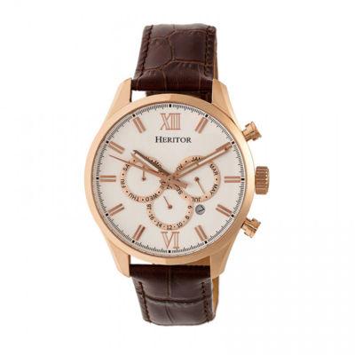 Heritor Unisex Brown Strap Watch-Herhr6804