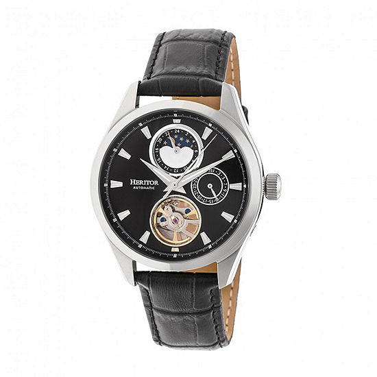 Heritor Unisex Adult Automatic Black Leather Strap Watch-Herhr6902