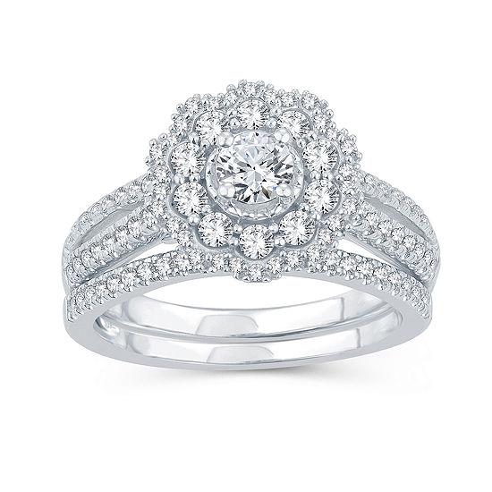 Womens 1 CT. T.W. Genuine Diamond 10K White Gold Bridal Set