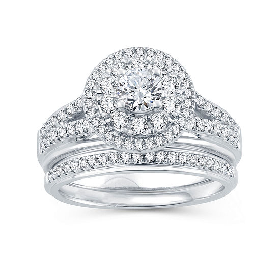 Womens 1 1/10 CT. T.W.  Genuine Diamond 10K White Gold Bridal Set