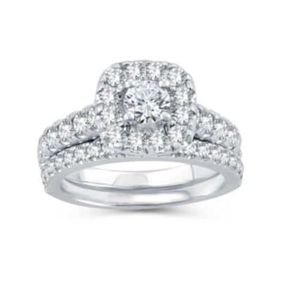 Womens 1 1/2 CT. T.W. Genuine Diamond 10K White Gold Bridal Set