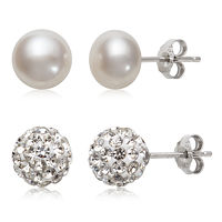 2 Pair Cultured Pearl & Crystal Sterling Silver Earring Set Deals