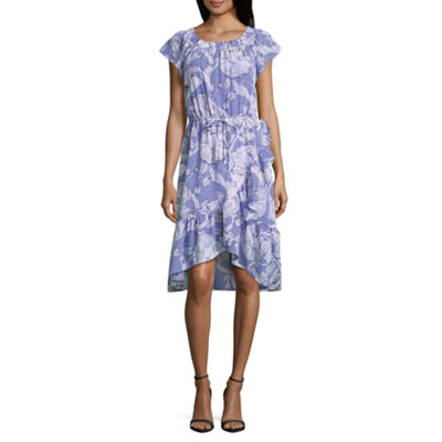 Liz Claiborne Short Sleeve Ruffle Hem Dress - Tall