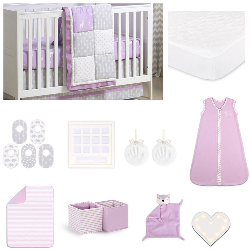 The Peanut Shell Crib Bedding Set – Purplegrey – Girls – Baby Bedding + Coordinates – Crib Bedding Sets