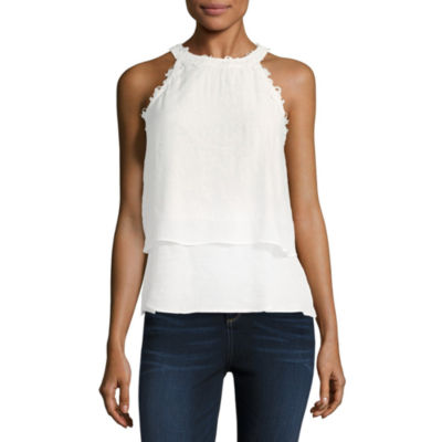by&by Sleeveless Scoop Neck Batiste Blouse-Juniors