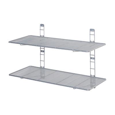 Seville Classics® 2-Tier Heavy-Duty Wall Mount Floating Steel Wire Mesh Storage Shelves