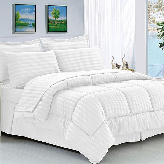 Elegant Comfort 8-Piece Complete Bedding Set Dobby Stripe - Wrinkle Resistant