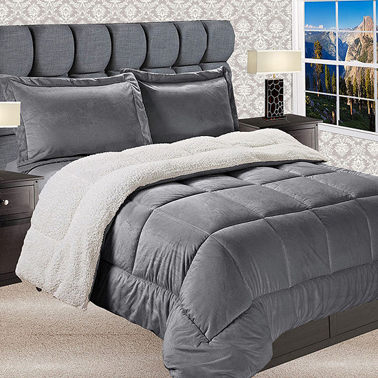 Elegant Comfort Luxury Micro-Mink Reversible Sherpa Comforter Set - Heavy Weight