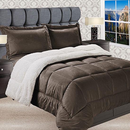 Elegant Comfort Luxury Micro-Mink Reversible Sherpa Comforter Set - Heavy Weight