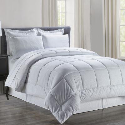Elegant Comfort Silky Soft Floral Pattern Complete Bed-in-a-Bag 8-Piece Comforter Set