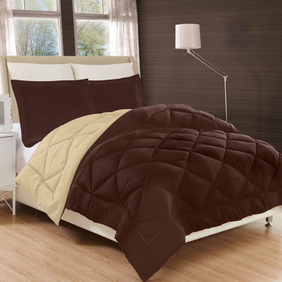 Elegant Comfort All Season Down Alternative Reversible Comforter Set