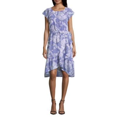 Liz Claiborne Short Sleeve Ruffle Hem Peasant Dress