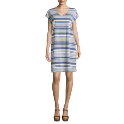 Liz Claiborne Short Sleeve Stripe T-Shirt Dresses
