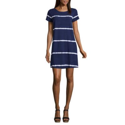 Liz Claiborne Studio Short Sleeve Stripe T-Shirt Dresses