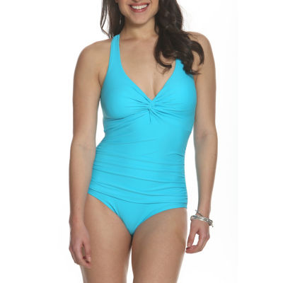 Sun and Sea Blossom Twist Back One Piece Swimsuit - Plus