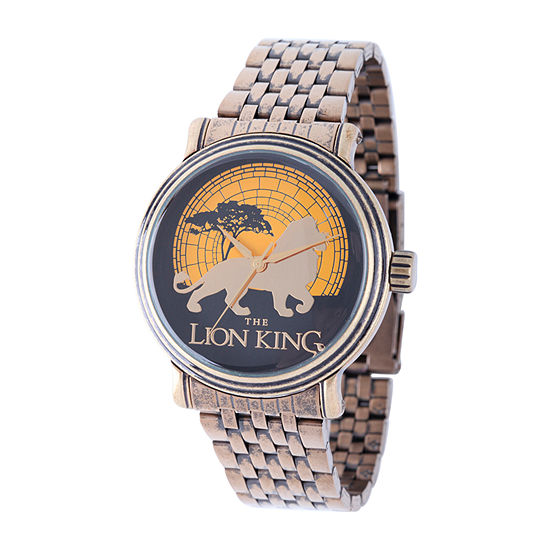 Disney Lion Guard Mens Gold Tone Stainless Steel Bracelet Watch-W002127