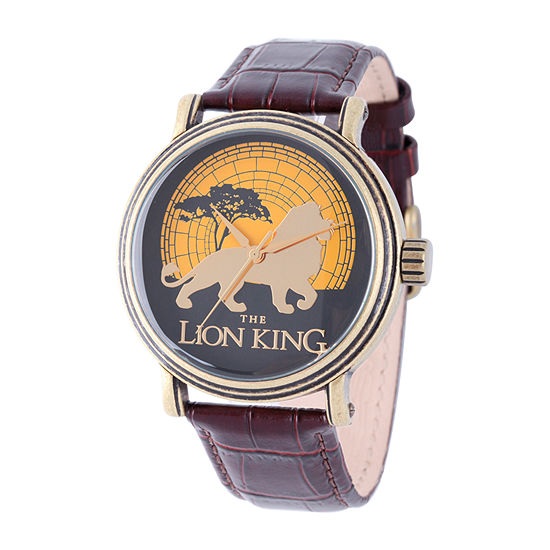 Disney The Lion King Mens Brown Leather Strap Watch-W002128