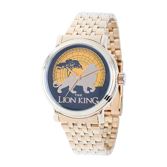 Disney Lion Guard Mens Gold Tone Stainless Steel Bracelet Watch-W002129