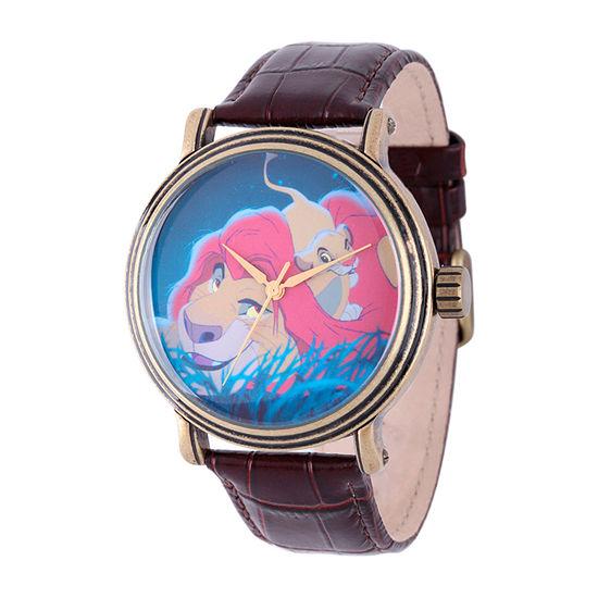 Disney Lion Guard Mens Brown Leather Strap Watch-W002131