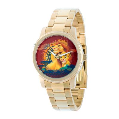 Disney The Lion King Mens Gold Tone Bracelet Watch-W002138