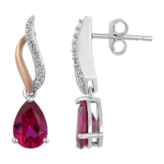 Lab Created Red Ruby 14K Rose Gold Over Silver Drop Earrings