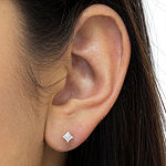 1/4 CT. T.W. Genuine White Diamond 14K White Gold 13mm Stud Earrings