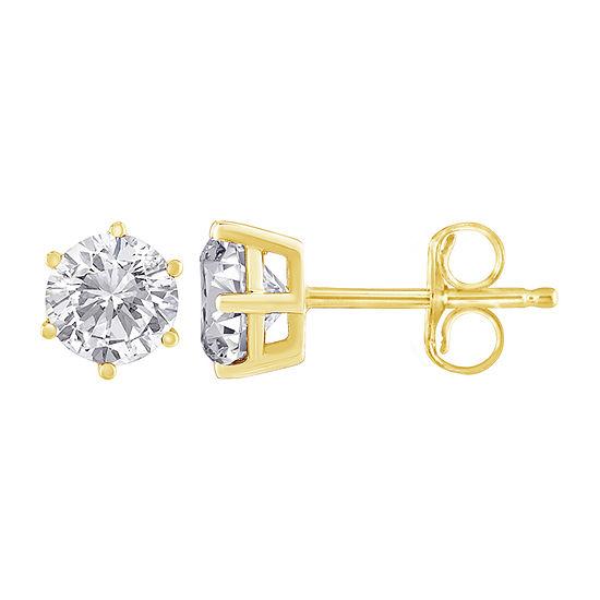 1 3 Ct Tw Genuine White Diamond 14k Gold 15mm Stud Earrings