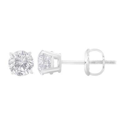1 CT. T.W. Genuine White Diamond 14K White Gold 4.9mm Stud Earrings