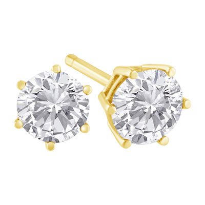 1 1/2 CT. T.W. Genuine White Diamond 18K Gold 15mm Stud Earrings