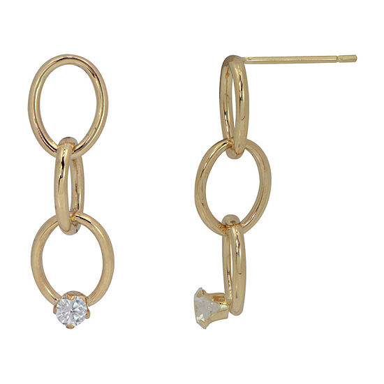 Lab Created White Cubic Zirconia 14K Gold Drop Earrings