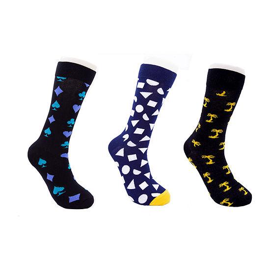 HS By Happy Socks 3 Pair Crew Socks-Mens