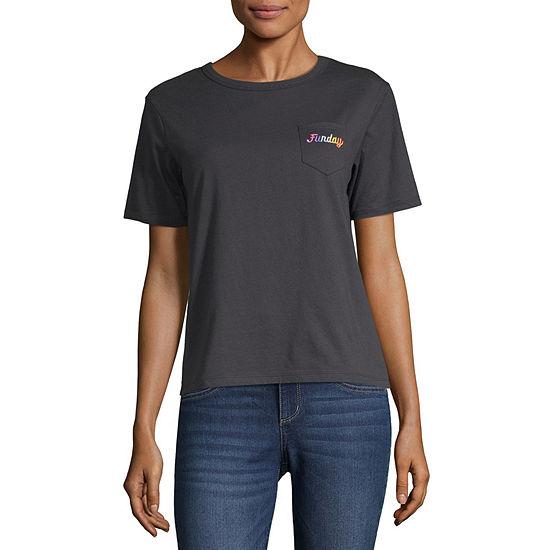 Juniors Crew Neck Short Sleeve Graphic T-Shirt