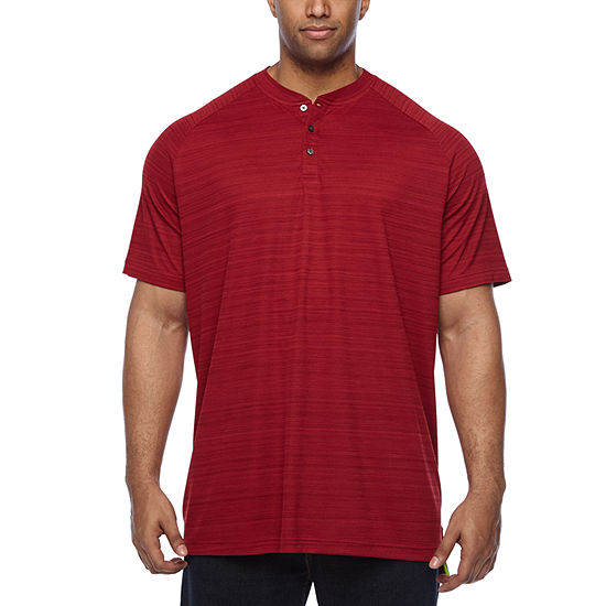 The Foundry Big & Tall Supply Co. Mens Short Sleeve Moisture Wicking Stretch Henley Shirt-Big and Tall