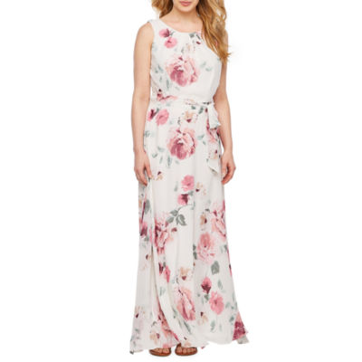 R & K Originals Sleeveless Floral Maxi Dress-Petite
