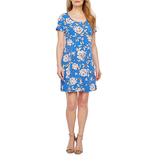 Ronni Nicole Short Sleeve Floral Puff Print A-Line Dress-Petite