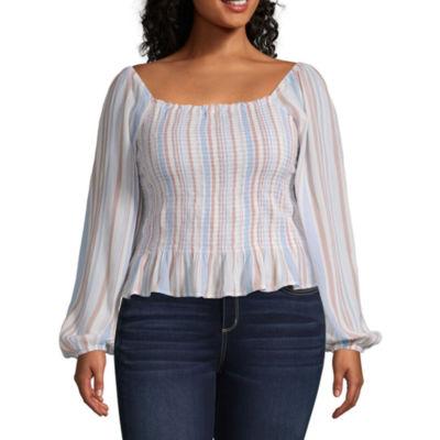 Arizona Womens Square Neck Long Sleeve Blouse -Juniors Plus