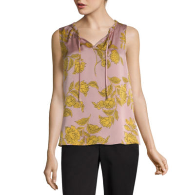 Liz Claiborne Womens Split Crew Neck Sleeveless Shells