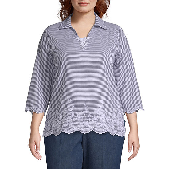 Alfred Dunner Smooth Sailing Pinstripe Border Top - Plus