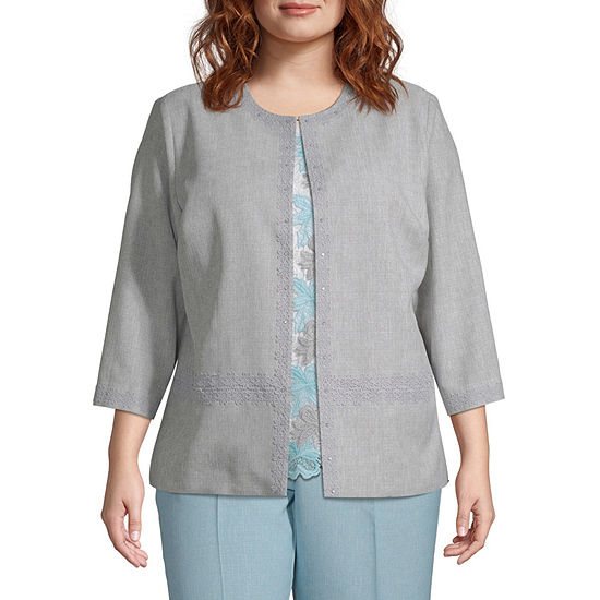 Versailles Alfred Dunner Lace Trim Jacket - Plus