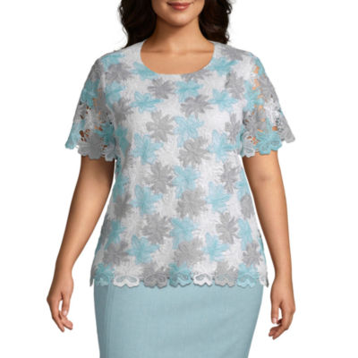Versailles Alfred Dunner Lace Floral Top - Plus