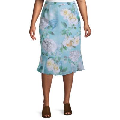 Versailles Alfred Dunner Godet Roses Skirt - Plus