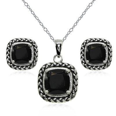Genuine Black Onyx Sterling Silver 2-pc. Jewelry Set