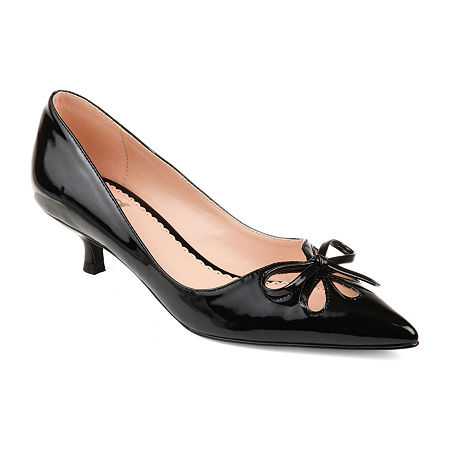 Vintage Heels, Retro Heels, Pumps, Shoes Journee Collection Womens Lutana Slip-on Pointed Toe Kitten Heel Pumps 11 Medium Black $52.49 AT vintagedancer.com