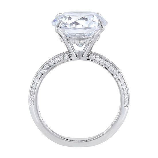 Diamonart Womens Cubic Zirconia Sterling Silver Engagement Ring